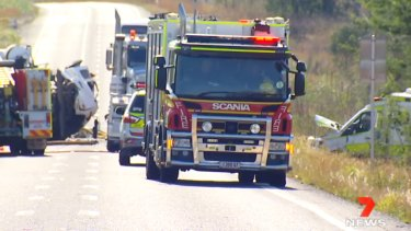 The scene of the double-fatal crash on the Capricornia Highway in Stanwell.