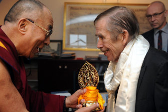 """The Dalai Lama with Vaclav Havel, """"a playwright and proper bohemian"""" who took over from the Communists in the Czech Republic."""
