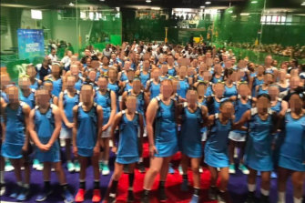 """ISNSW Indoor Netball State Coordinator Shannon Timms said the centre followed """"strict COVID guidelines"""" but would not comment on why the photo was taken with such a large group."""