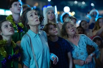 Harriet Walter in The End, which begins with her character's botched suicide attempts.