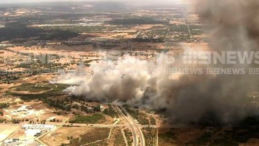 The fire takes hold in Forrestdale.