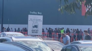 A crowd outside a Bunnings Warehouse in Melbourne's north on Saturday