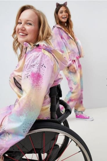 Models wearing the new ASOS 'wheelchair friendly' suit.