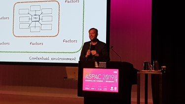 Dr Matt Finch gives the opening address to ASPAC 2019 in Brisbane
