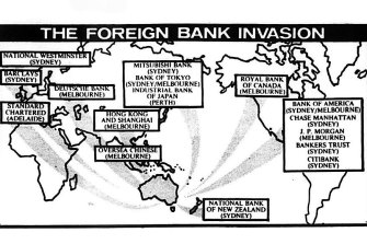 A graphic published in The Age on February 28, 1985 shows the foreign banks awarded licences in Australia, and where they will be located.
