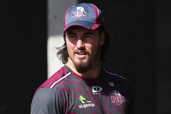Queensland Reds captain Liam Wright watches on at Ballymore on Monday.