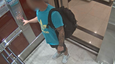 Jonathan David captured on CCTV allegedly leaving his forced hotel quarantine.