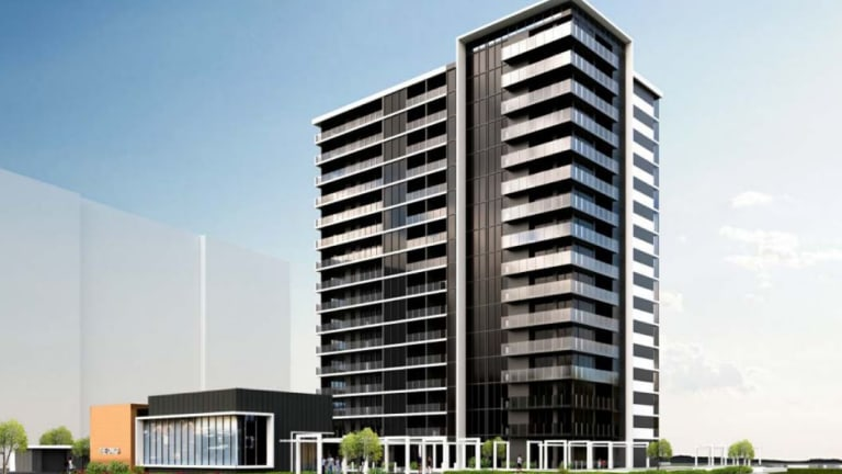 An artist impression of The Oaks, a proposed development by Amalgamated Property Group for a 16-storey building with 156 apartments.