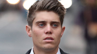 Australian cricketer Alex Hepburn arrives at court.
