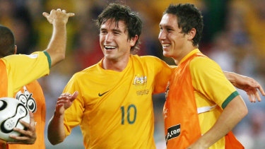 Harry Kewell and Mark Milligan during the 2006 World Cup in Germany.