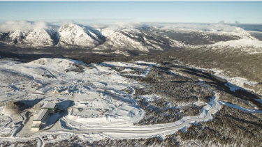 Aerial photograph of the Red Chris gold mine processing plant in Canada.