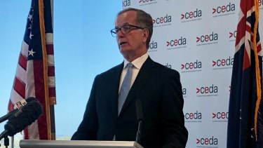 "US ambassador to Australia Arthur ""A.B."" Culvahouse delivers his first major speech in Perth."