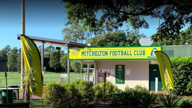 A man has died at the Mitchelton Football Club while watching a game on Sunday.
