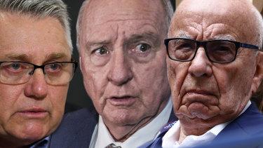 2GB hosts Ray Hadley and Alan Jones, and media mogul Rupert Murdoch.