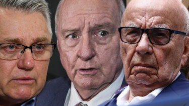 2GB hosts Ray Hadley and Alan Jones, and media mogul Rupert Murdoch.