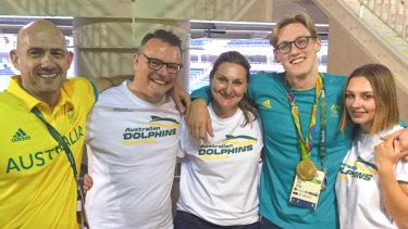 Melbourne Vicentre Swimming Club's head coach Craig Jackson, Andrew and Cheryl Horton, swimmer Mack Horton and girlfriend Ella Walter.