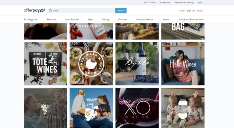 A host of boutique wine sellers offer Afterpay, according to Afterpay's website.