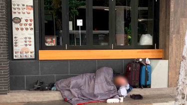 One of the images Lisa Scaffidi tweeted of a man sleeping rough on Murray Street.