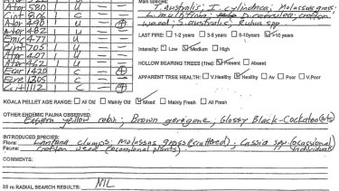 "A Koala Assessment Form from Lower Beechmont Conservation Zone behind the Gold Coast. This site show no koalas. Only three sites recorded koalas, only two from the koala ""translocation"" exercise."