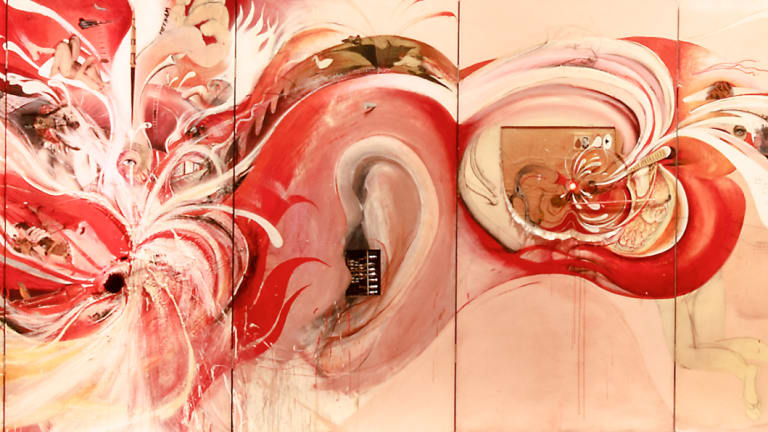 A detail from Brett Whiteley's 'The American Dream' (1969-69) installed at NGV Australia.