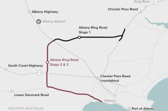 The planned Albany Ring Road.