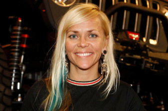 TV personality and world speed record holder Jessi Combs, pictured here in 2018, has died in a crash in the US.