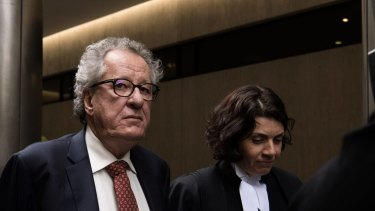 Geoffrey Rush outside the Federal Court during his defamation trial against The Daily Telegraph.