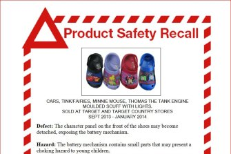 Light-up shoes recalled by the Australian Competition and Consumer Commission in 2014. The battery compartment may become detached, potentially posing a choking hazard to a child.