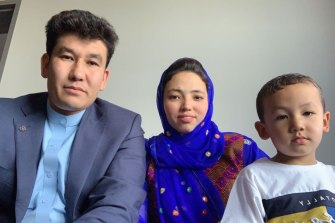 The Rahimi family in hotel quarantine in Melbourne.