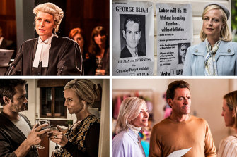 Clockwise from top left: playing the title role in Janet King, which spun off from 2011's Crownies; in A Place to Call Home, which began filming in 2013; with Cate Blanchett and Dominic West in Stateless, 2020; and with Guy Pearce in Jack Irish: Dead Point, 2014.