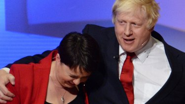 Boris Johnson embraces Scottish Conservative leader Ruth Davidson after The Great Debate at Wembley Arena two days before the Brexit referendum in 2016.