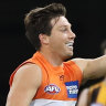 Toby Greene celebrates kicking a goal in the Giants' big win over the Hawks.