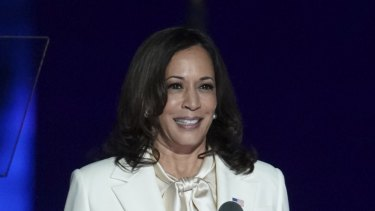 US Vice President-elect Kamala Harris speaks while delivering an address to the nation in Wilmington, Delaware.
