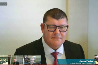 James Packer gives evidence to the NSW casino inquiry on Thursday.