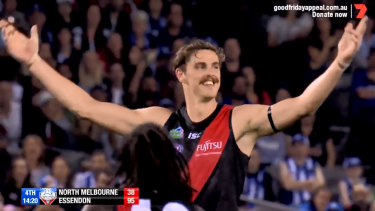 Joe Daniher after booting a monster goal this year.