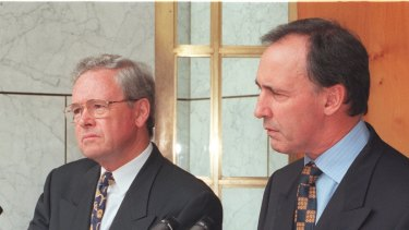 Paul Keating (right) with Ralph Willis, who, as treasurer, oversaw the last time a complete tax rate was abolished by a federal government.