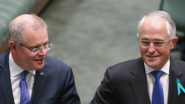 Prime Minister Scott Morrison and the man he replaced in the top job in August, Malcolm Turnbull.