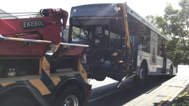 The bus crashed into three cars on Hamilton Road near the intersection with Kelso Street.