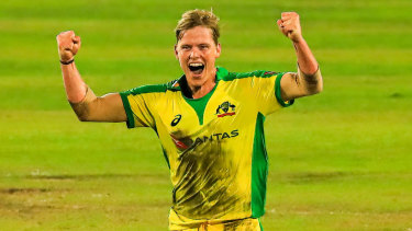 Nathan Ellis celebrates his hat-trick on debut, but Australia's batsmen came up short in the run chase.