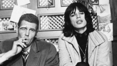 ames Fox (left) as a London gangster, Chas, with Mick Jagger as faded rock superstar, Turner on the set of  Donald Cammell and Nicolas Roeg's psychological thriller, 'Performance'.
