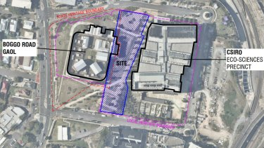 The proposed development would sit between the heritage jail and the CSIRO sciences building.