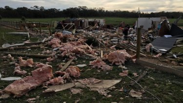 The home in Axe Creek, near Bendigo, where a 'coldie' tornado hit.
