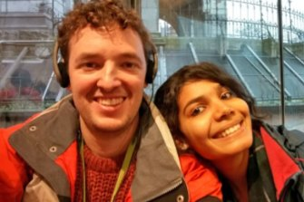 Dr Andrew Lowe and his fiancee Richa, who has a prospective spouse visa to come to Australia but cannot travel due to the national ban.