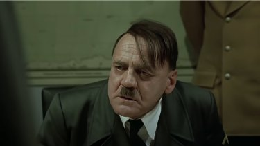 Actor Bruno Ganz in the movie Downfall that Mr Tracey's wife used to create her meme video.