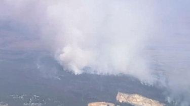 A bushfire burns at Glen Forbes in the Grantville Nature Reserve.