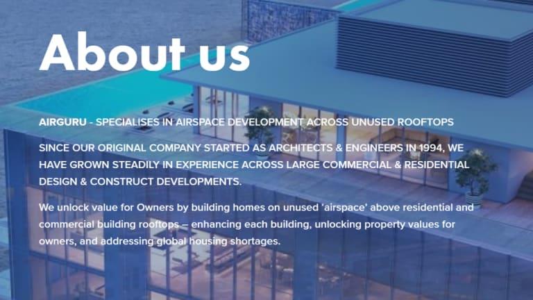 """Airguru claims to develop """"unused rooftops""""."""