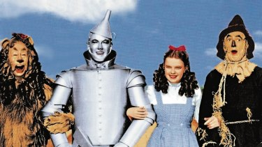 <i>The Wizard of Oz</i>. From left, Bert Lahr, Jack Haley, Judy Garland and Ray Bolger.