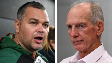 A tale of two coaches in different cities ... Anthony Seibold and Wayne Bennett.