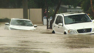 Floodwaters in Traralgon on Thursday.