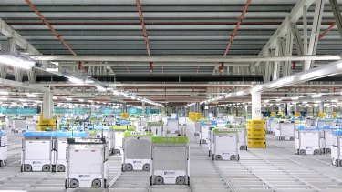 Robots at work in Ocado Group's online grocery platform.